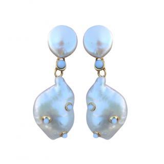 Celine Studded Baroque Pearl Earrings