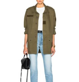 Saint Laurent khaki cotton and linen military parka