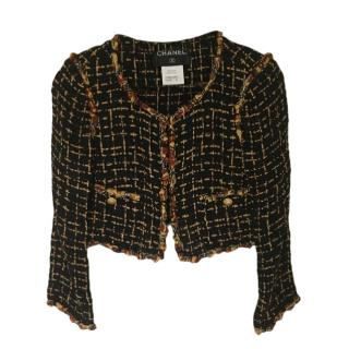 Chanel Black & Gold Tweed Cropped Jacket