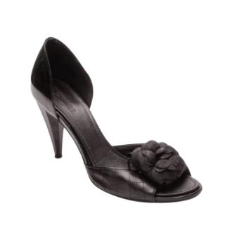 Chanel Quilted Camellia Black Leather Open Toe Pumps