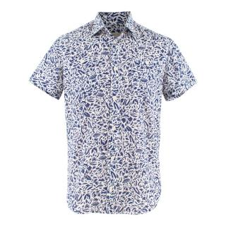 Maison Kitsune White and Blue Fox Print Cotton Shirt