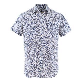 Maison Kitsune White and Blue Fox Print Cotton Shirt