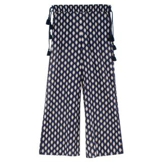Tory Burch Navy Sheer Printed Cotton Wide Leg Trousers