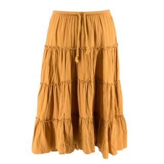 See By Chloe Mustard Ruffle Midi Skirt