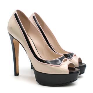 Dior Pink & Black Patent Leather Peep Toe Pumps