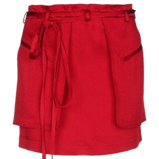 Valentino Red Satin Mini Skirt