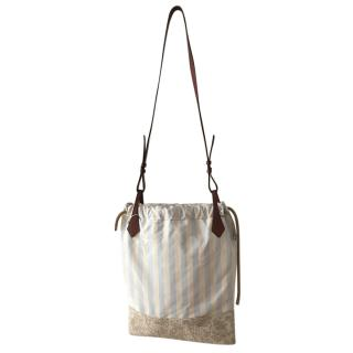 Max Mara Striped Jacquard Drawstring Shoulder Bag