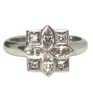 Bespoke French diamond floral cluster ring