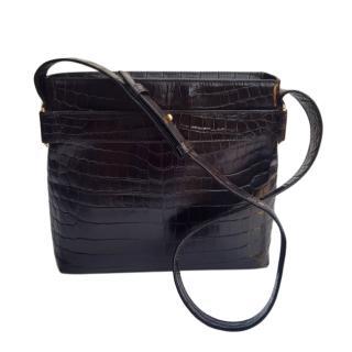 Salvatore Ferragamo black croc embossed leather shoulder bag