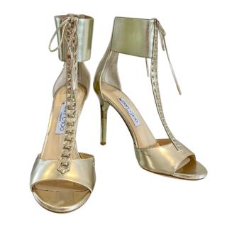 Jimmy Choo gold leather ankle cuff sandals
