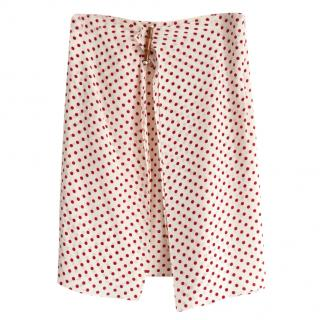 Prada red an cream polka dot silk crepe skirt