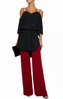 Roland Mouret Black Silk Cold-Shoulder Blouse