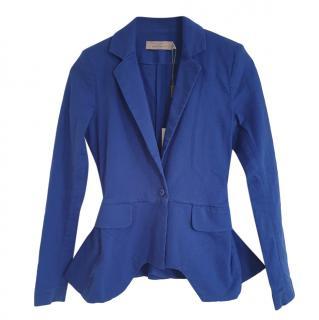 Preen by Thornton Bregazzi Blue Peplum Stretch Cotton Tailored Jacket