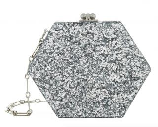Edie Parker Metallic Macy Hexagon Acrylic Clutch