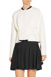 Victoria Victoria Beckham Belted satin-trimmed wool-crepe jacket