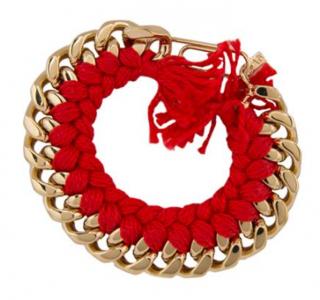 Aurelie Bidermann Gold Plated Woven Red Bracelet