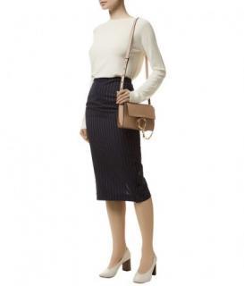 Victoria Beckham Pinstripe Button Detail Pencil Skirt