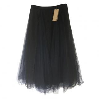 Burberry black mesh midi skirt