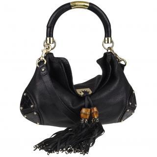Gucci Small Black Leather Indy Babouska Top Handle Bag