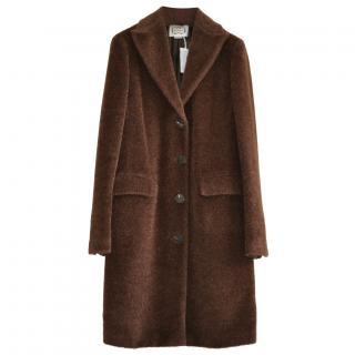 Angona brown alpaca and wool blend coat