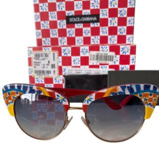 Dolce & Gabbana red floral Majolica sunglasses