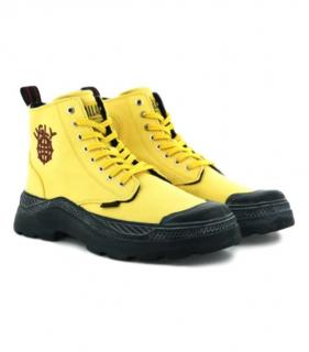 Palladium x Uglyworldwide yellow cotton canvas high top boots