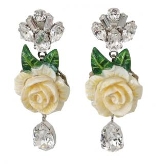 Dolce & Gabbana crystals/ rose clip earrings