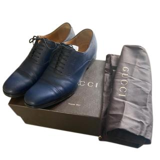 Gucci Blue Leather Lace-Up Oxfords