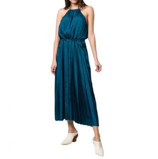 Tibi Blue Mendini twill pleated dress