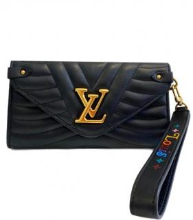 Louis Vuitton Black Wave Leather Wristlet