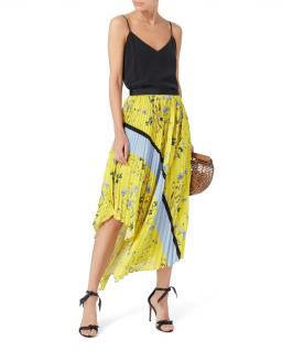 Self Portrait Yellow Asymmetric Pleated Floral Skirt