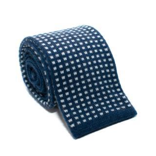 Doriani Blue & White Embroidered Wool Blend Tie