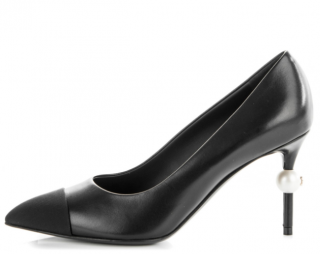 Chanel Black Pearl Heel Leather & Grosgrain Pumps