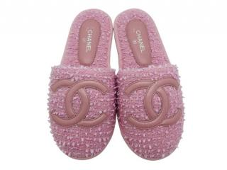 Chanel Pink Tweed CC House Slippers