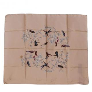 Dolce & Gabbana Rose Beige Silk Scarf