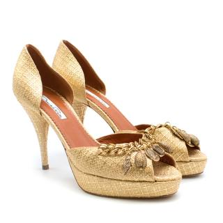 Oscar De La Renta Gold Woven Chain Detail Pumps