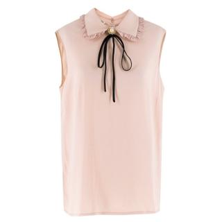 Miu Miu Sleeveless Blush Embellished Crepe Blouse