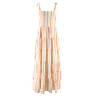 Sezane Pastel Striped Annie Cotton Maxi Dress