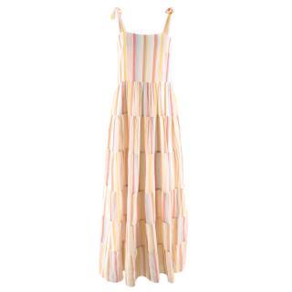 Sezane Pastel Striped Annie Cotton Maxi Dress