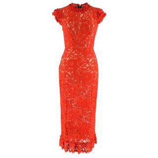 Allen Schwartz Red Lace Midi Dress