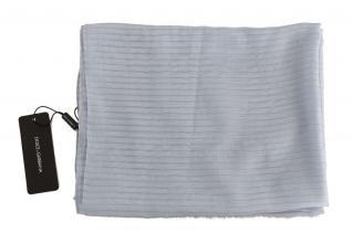 Dolce & Gabbana Blue Striped Silk Scarf
