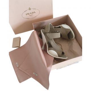 Prada White & Khaki Sculpted Sandals