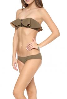 Lisa Marie Fernandez Khaki Lauren Zip Front Bikini Top