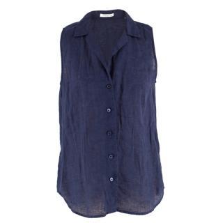 Equipment Navy Linen Sleeveless Shirt
