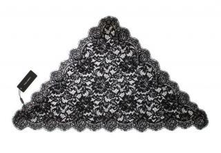 Dolce & Gabbana Black Floral Lace Headscarf