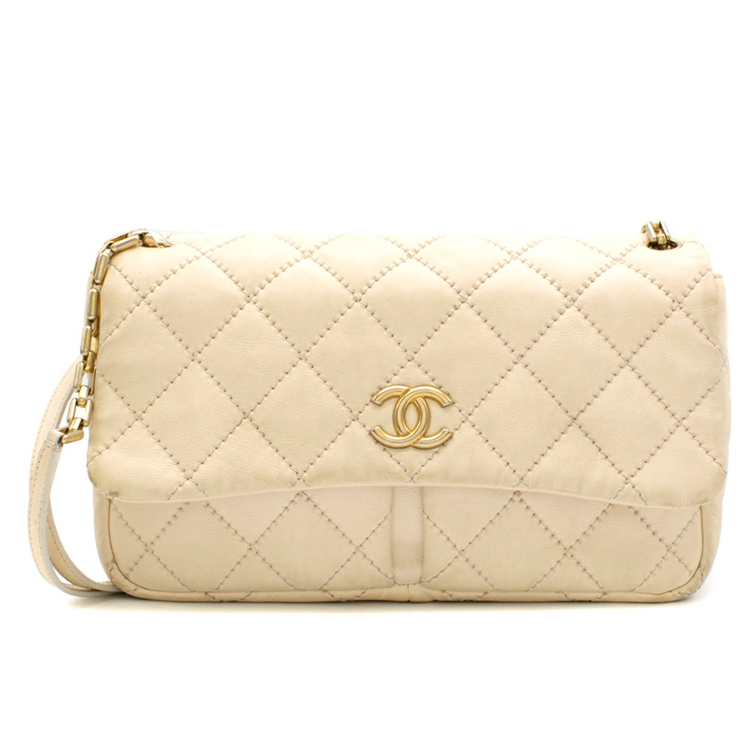 Chanel Cream Stitch Quilted Double Pocket Flap Bag