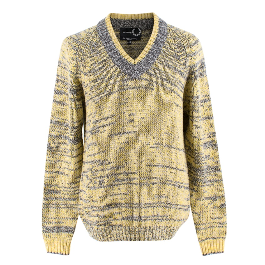 Raf Simons x Fred Perry Knit Yellow Varsity Sweater