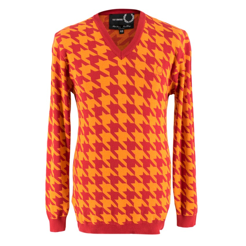 Fred Perry x Raf Simons V-neck Houndstooth Sweater