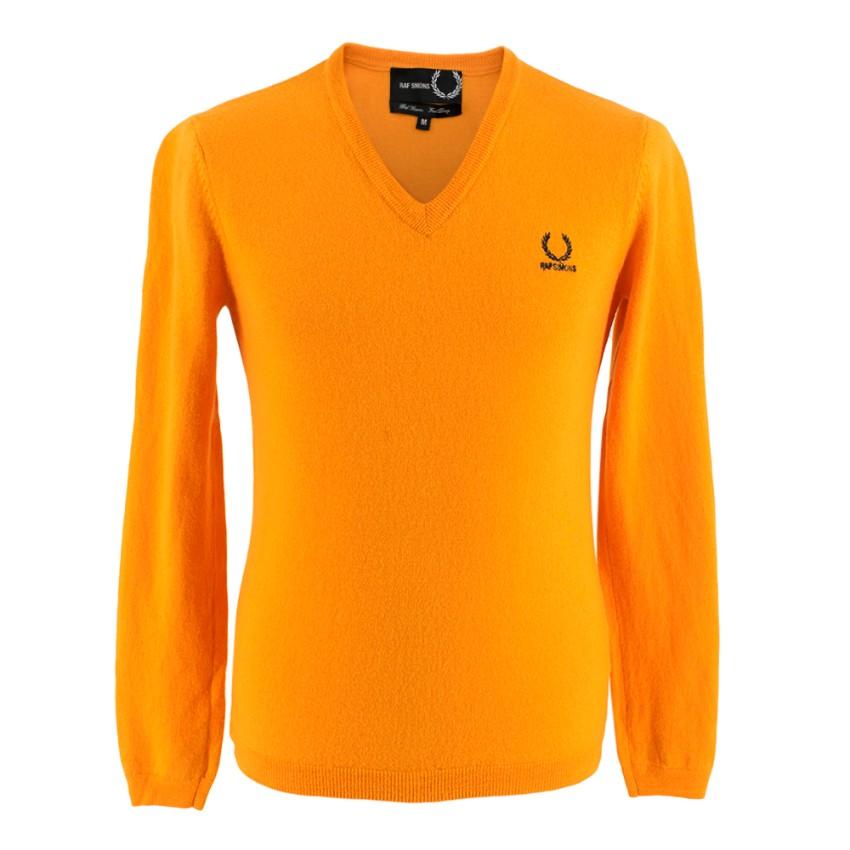 Fred Perry x Raf Simons Orange Wool V-Neck Sweater