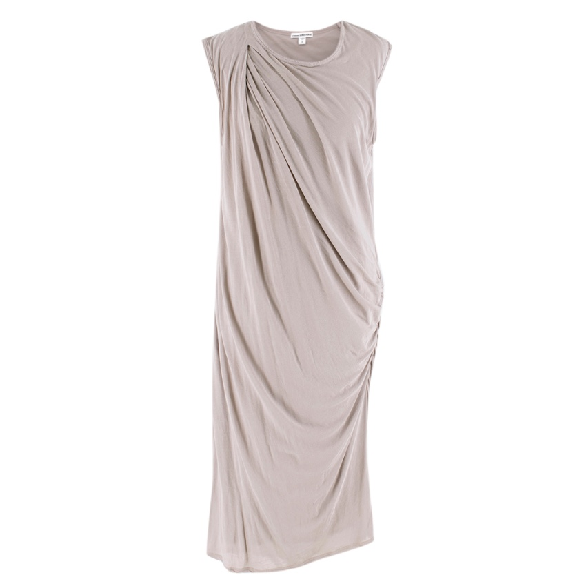 James Perse Grey Draped Cotton Jersey Dress